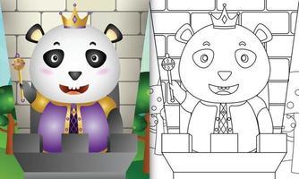Plantilla de libro para colorear para niños con una linda ilustración de personaje de panda rey vector