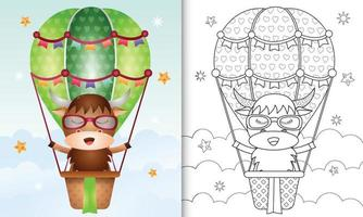 Coloring book template for kids with a cute buffalo on hot air balloon vector
