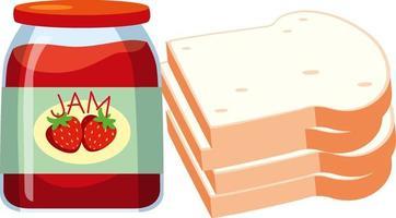 mermelada de fresa con pan aislado vector