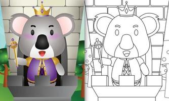 Plantilla de libro para colorear para niños con una linda ilustración de personaje de rey koala vector