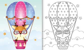 Coloring book template for kids with a cute deer on hot air balloon vector
