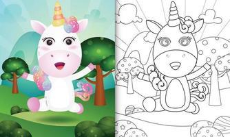 Plantilla de libro para colorear para niños con una linda ilustración de personaje de unicornio vector