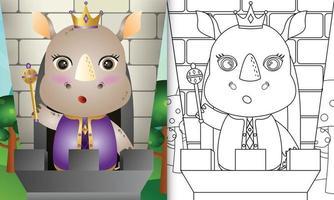 Plantilla de libro para colorear para niños con una linda ilustración de personaje de rey rinoceronte