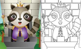 Plantilla de libro para colorear para niños con una linda ilustración de personaje de mapache rey