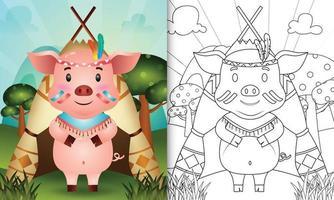 Plantilla de libro para colorear para niños con una linda ilustración de personaje de cerdo boho tribal vector