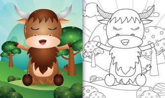 Plantilla de libro para colorear para niños con una linda ilustración de personaje de búfalo vector