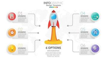 6 steps startup infographics with rocket launch. business and finance concept. vector