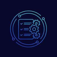 icono de línea de procedimientos con lista de verificación vector