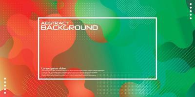 Fondo de color líquido rojo verde. Diseño dinámico de elementos geométricos texturizados con decoración de puntos. Ilustración de vector de luz degradado moderno.