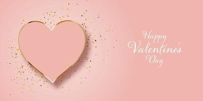 valentines day banner design with gold glitter and heart 1401 vector