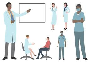 Set Of Doctors And Nurses Flat Vector Illustration Isolated On A White Background.