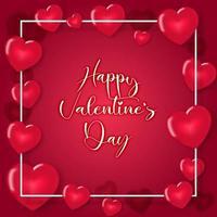 Globos de corazón rosa rojo sobre fondo de marco cuadrado blanco vector