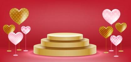 diseño de podio de san valentín vector