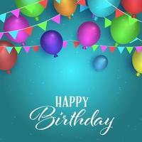 fondo de cumpleaños con globos y banderines vector