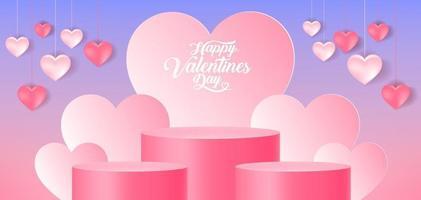 Valentine's day heart podium design vector