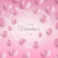 valentines day background with folded hearts vector