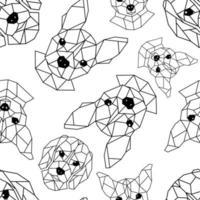 patrón sin fisuras con bozales geométricos de perros. vector