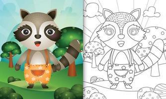 plantilla de libro para colorear para niños con una linda ilustración de personaje de mapache vector