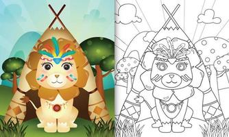 Coloring book template for kids with a cute tribal boho lion character illustration vector