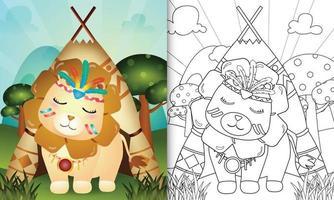 Plantilla de libro para colorear para niños con una linda ilustración de personaje de león boho tribal vector