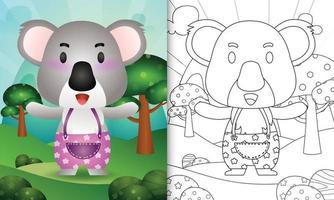 Coloring book template for kids with a cute koala character illustration vector