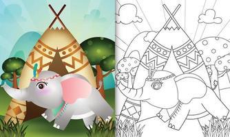 Plantilla de libro para colorear para niños con una linda ilustración de personaje de elefante boho tribal