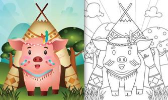 Coloring book template for kids with a cute tribal boho pig character illustration vector