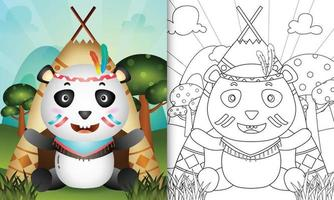 Coloring book template for kids with a cute tribal boho panda character illustration vector