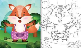 Plantilla de libro para colorear para niños con una linda ilustración de personaje de zorro vector