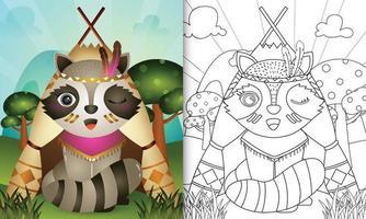 Plantilla de libro para colorear para niños con una linda ilustración de personaje de mapache boho tribal