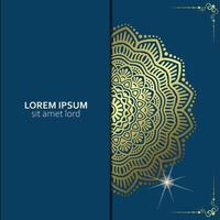Fondo adornado de mandala dorado de lujo para invitación de boda, portada de libro con estilo de elemento mandala vector premium
