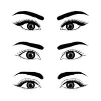 Set of realistic hand drawn eyes vector