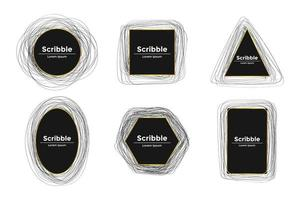 Set of scribble frames with golden border vector