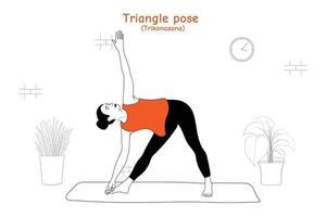 Woman doing yoga asana triangle pose or trikonasana in flat hand drawn style vector