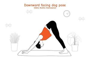 Mujer haciendo yoga asana pose de perro boca abajo o adho mukha svanasana en estilo plano dibujado a mano vector