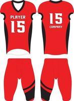 Ilustración de uniformes de fútbol americano de diseño personalizado vector
