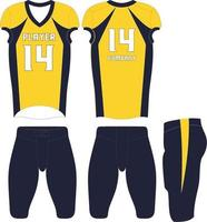 uniformes de fútbol americano diseño personalizado ilustración vector