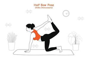 Woman doing yoga asana half bow pose or ardha dhanurasana in flat hand drawn style vector