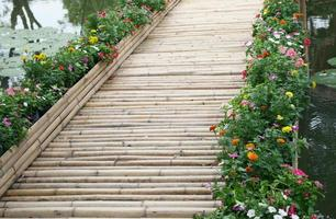 Bamboo bridge with flowers