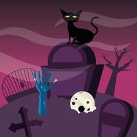 gato de halloween en un diseño vectorial de cementerio vector
