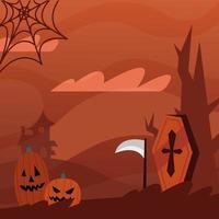 calabazas de halloween y diseño vectorial de ataúd vector