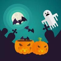 Calabazas de Halloween y dibujos animados de fantasmas en un diseño vectorial de cementerio vector