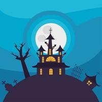 Halloween haunted house in front of the moon vector