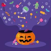 Trick or treat candies and pumpkin vector design