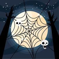 Halloween spiderweb with skulls on the trees vector design
