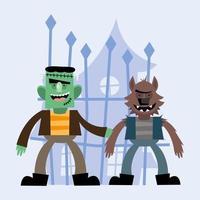 Halloween frankenstein and werewolf cartoons vector design