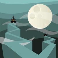 Halloween haunted houses in front of the moon vector design