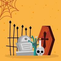 mano de zombie de halloween y diseño de vector de tumba