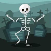 Dibujos animados de calavera de Halloween en un diseño vectorial de cementerio vector