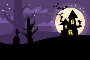 Halloween haunted house at night vector design
